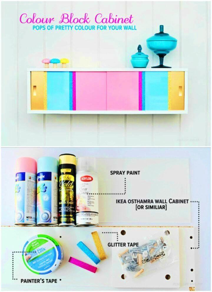 Adorable DIY Color Block Cabinet, DIY, easy DIY, quick DIY, cheap DIY projects, DIY color blocks, color blocks, DIY color block art, color block technique, DIY cabinet, gift ideas, DIY home decor, DIY color block cabinet.