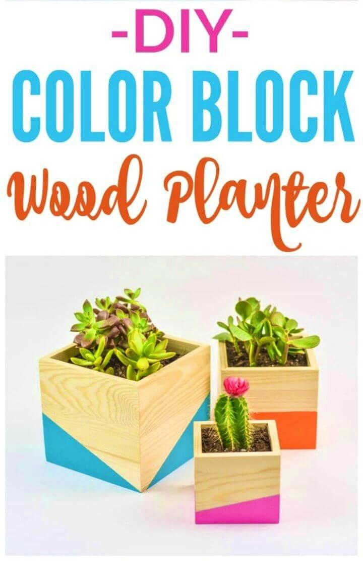Adorable DIY Color Block Wood Planter, DIY, easy DIY, quick DIY, cheap DIY projects, DIY color blocks, color blocks, DIY color block planter, DIY wood planter, color block technique, beautiful planter.