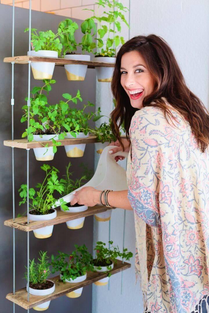 Adorable DIY Custom Potted Hanging Herb Garden