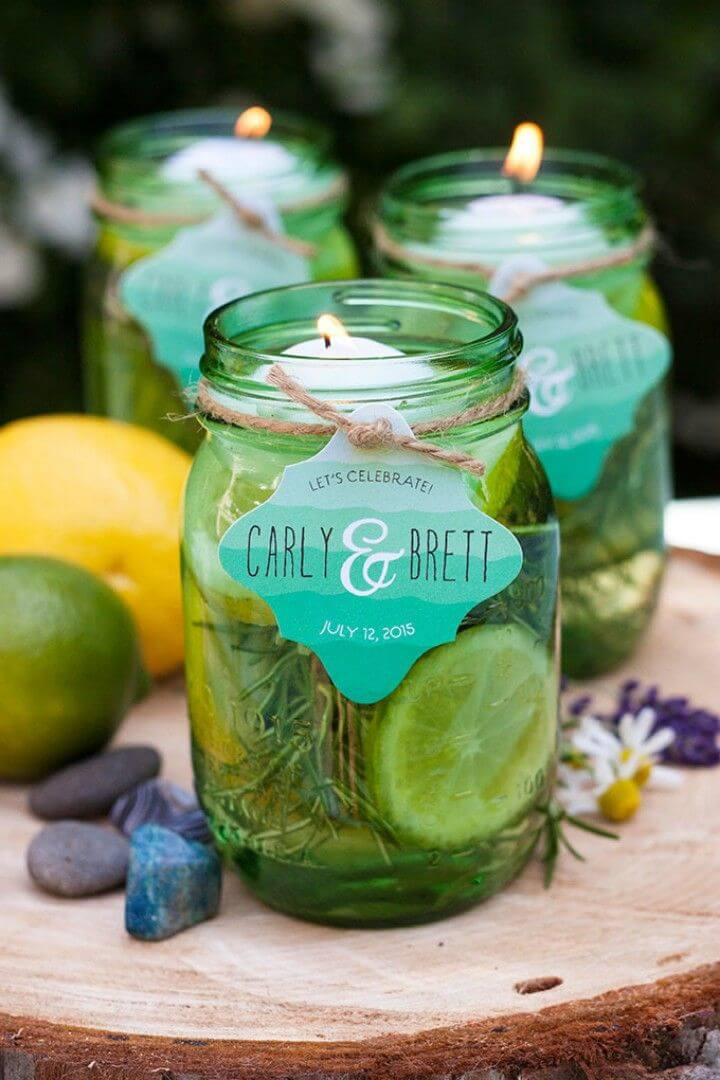 Adorable DIY Mason Jar Floating Citronella Candles