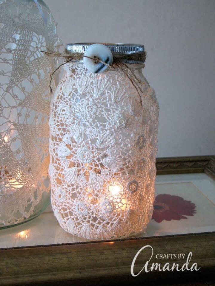 Amazing DIY Burlap Doily Luminaries
