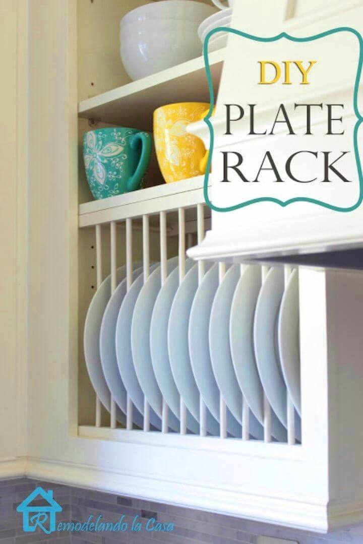 Awesome DIY Inside Cabinet Plate Rack