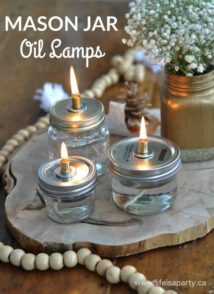 Awesome DIY Mason Jar Oil Lamps