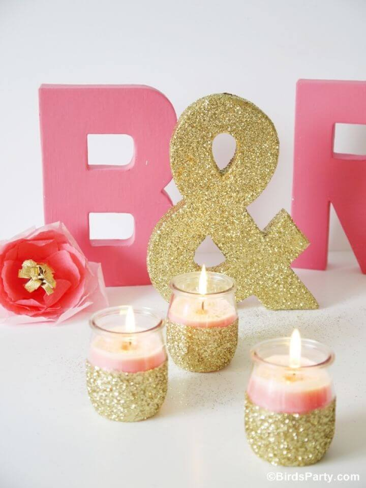 Awesome DIY Pink Candles and Glitter Candle Holders
