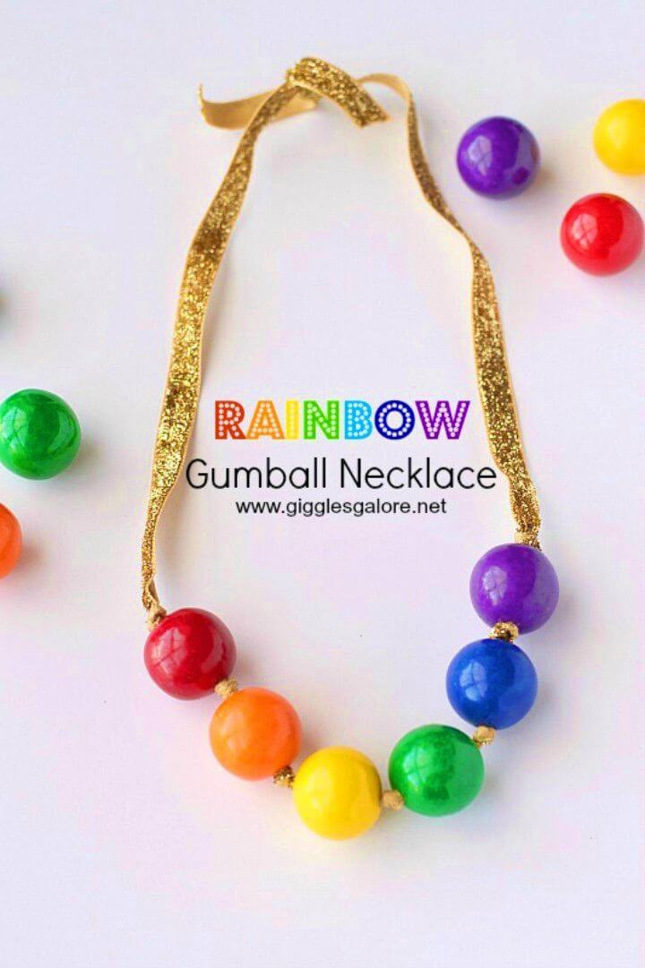 Awesome DIY Rainbow Gumball Necklace