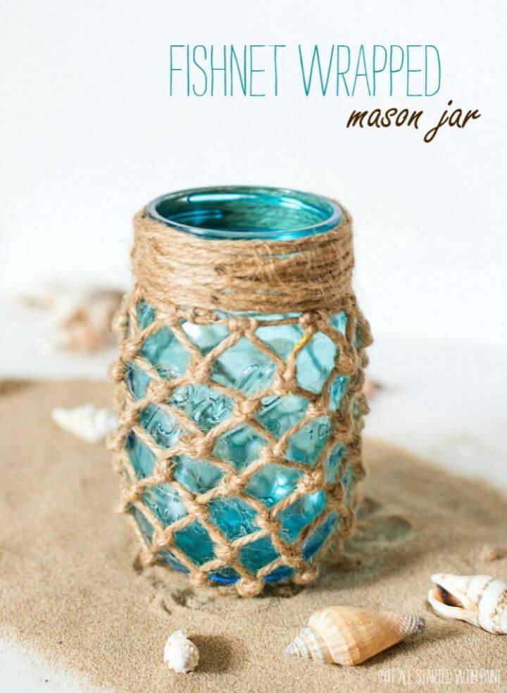 Beautiful DIY Fishnet Wrapped Mason Jar Craft