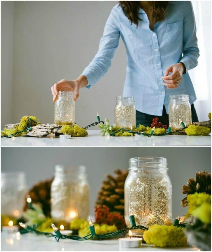 Beautiful DIY Glitter Mason Jars