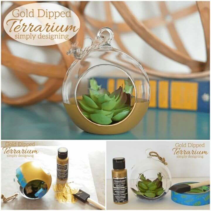 Beautiful DIY Gold Dipped Terrarium for Gift