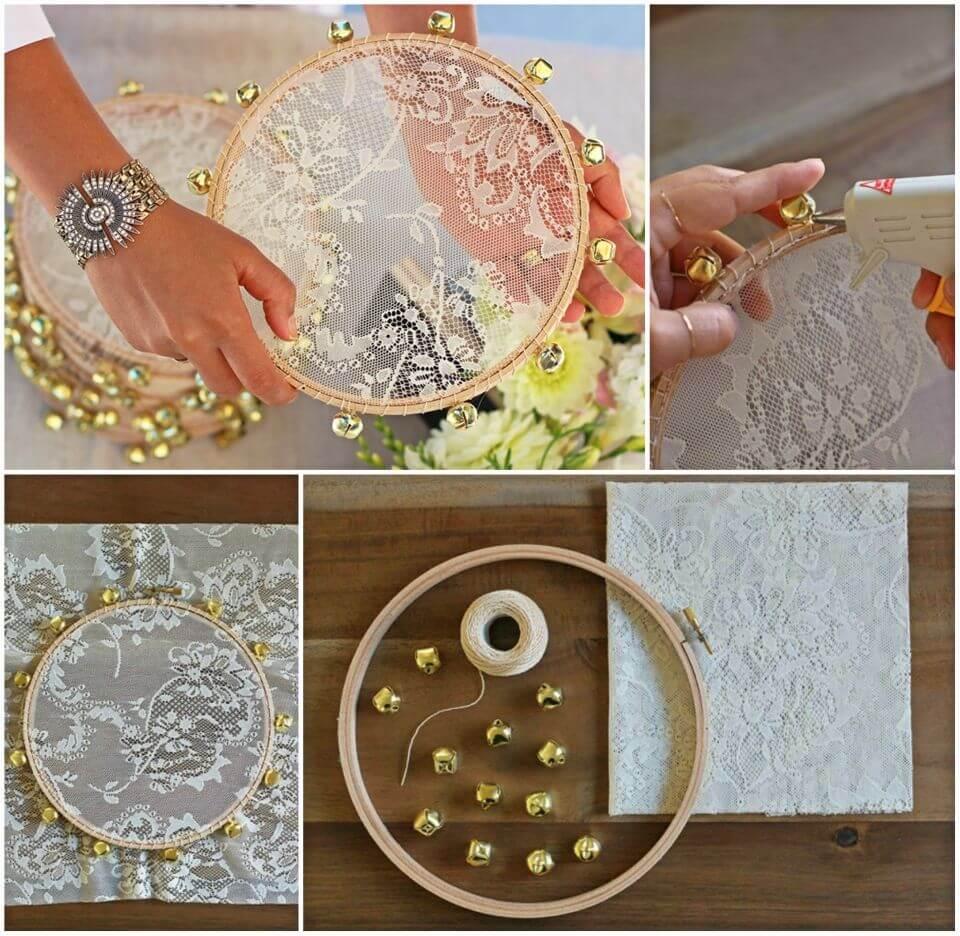 Beautiful DIY Lace Tambourine for Wedding Gift
