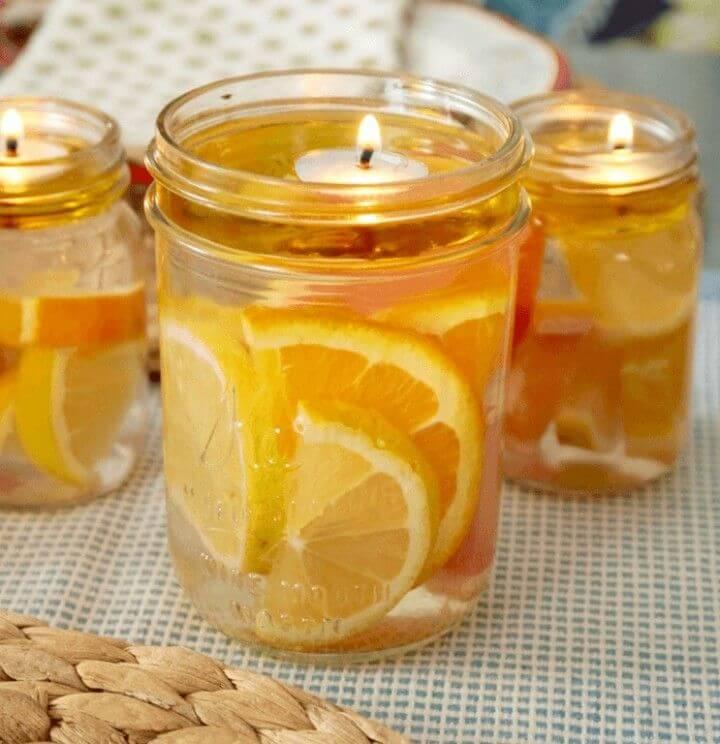 Beautiful DIY Mason Jar Water Candle