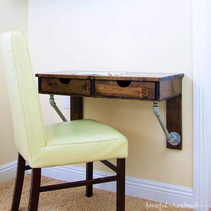 Build Rustic Industrial Wall Mounted Desk