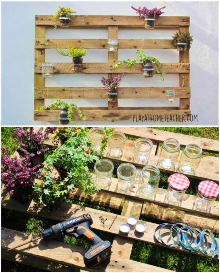 Build a Jam Jar Pallet Herb Planter