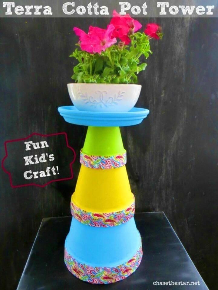 Colorful DIY Terra Cotta Pot Tower