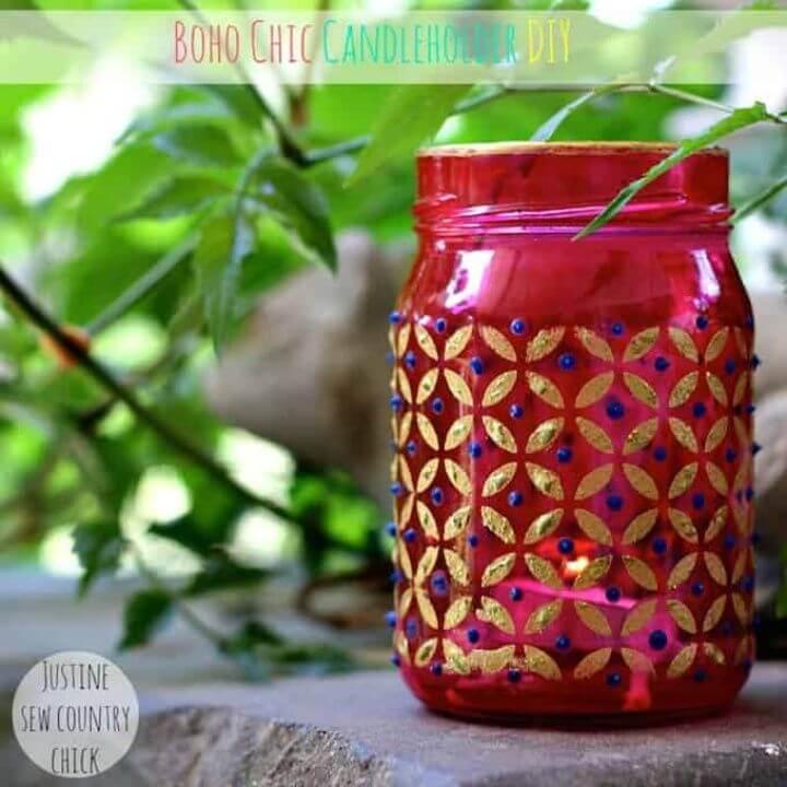 Cute DIY Boho Chic Mason Jar Candle Holders
