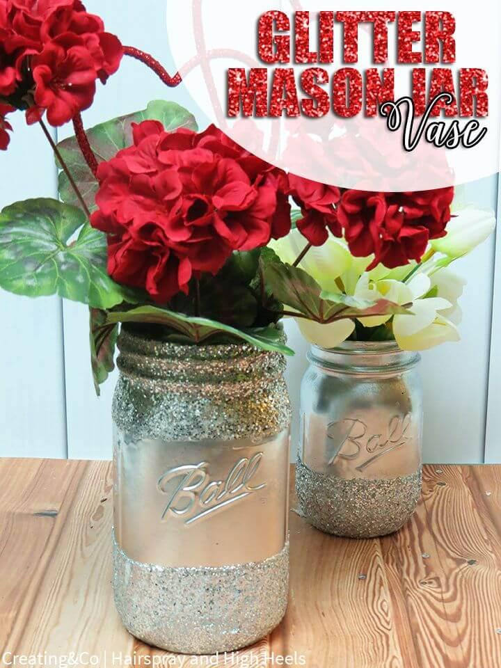 Cute DIY Glitter Mason Jar Vase