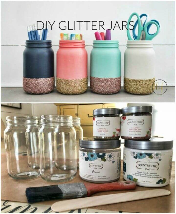 Cute DIY Glitter Mason Jars