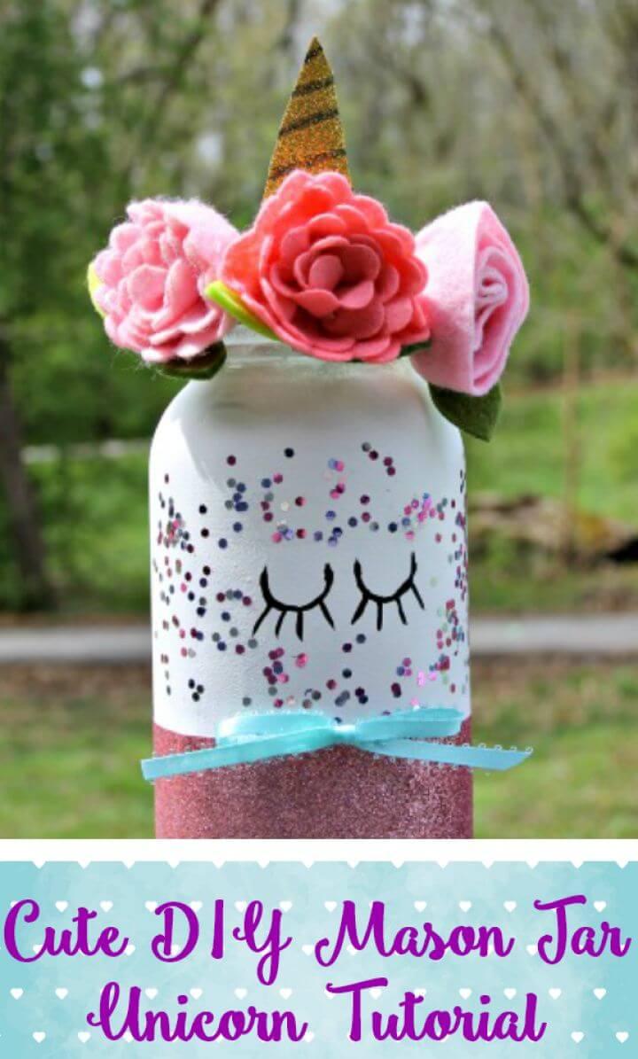 Cute DIY Mason Jar Unicorn Craft
