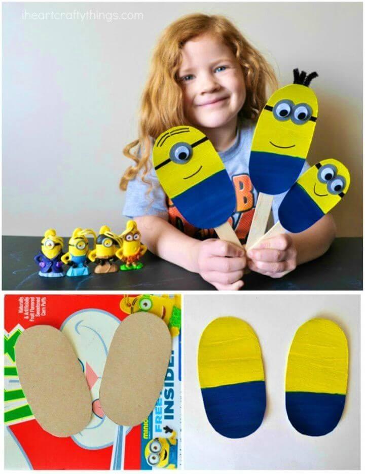 Cute DIY Minion Stick Puppets