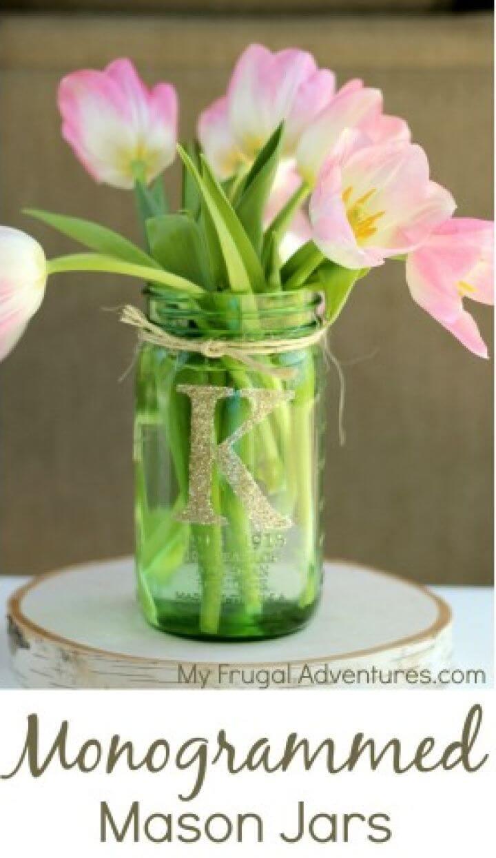 Cute DIY Monogrammed Mason Jars