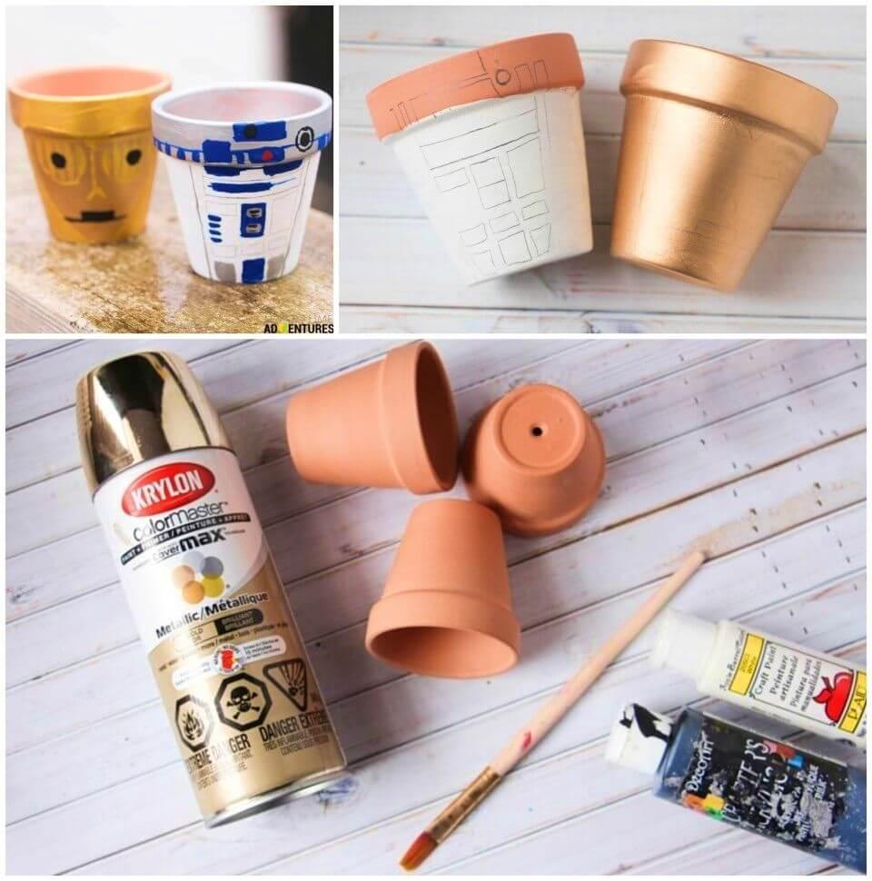 Cute DIY Star Wars Garden Pots