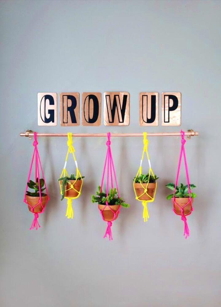 Cute Easy DIY Copper Pipe Hanging Planter