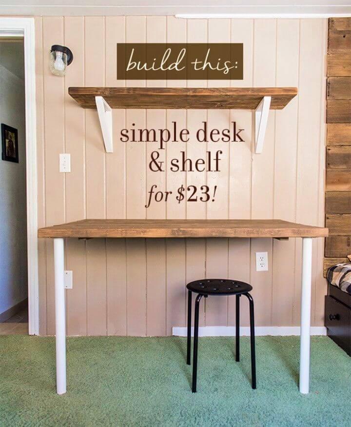 DIY Floating Wall Desk Shelf Brackets