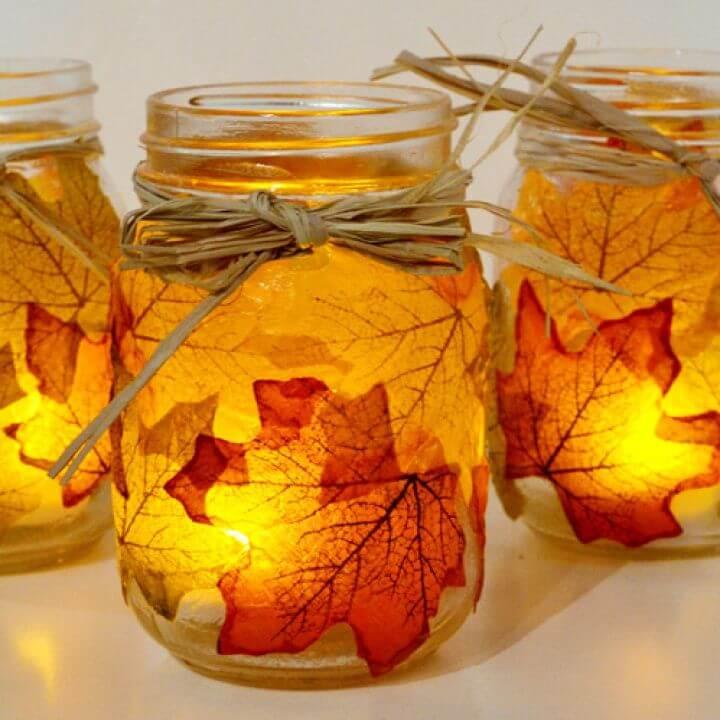 DIY Autumn Leaf Mason Jar Candle Holder