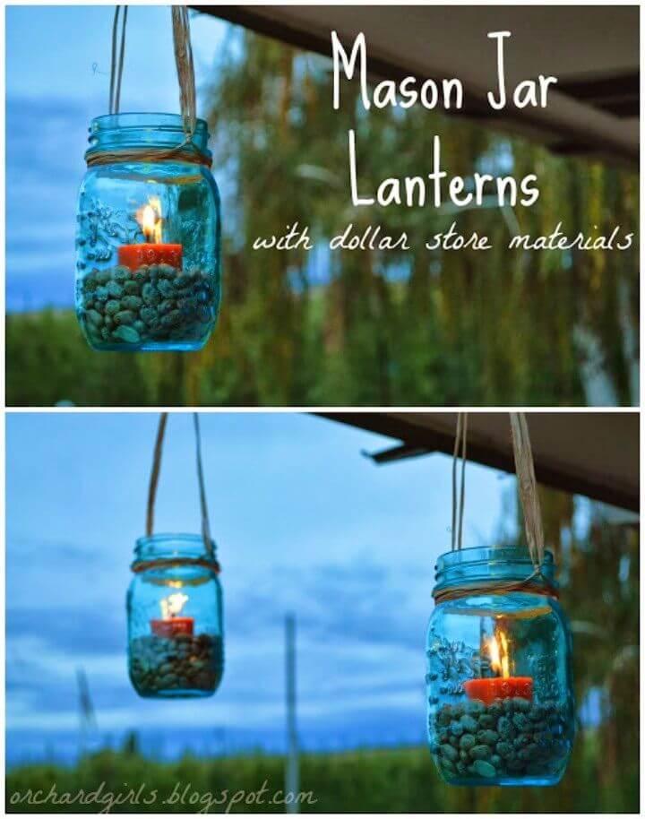 DIY Backyard Mason Jar Lanterns