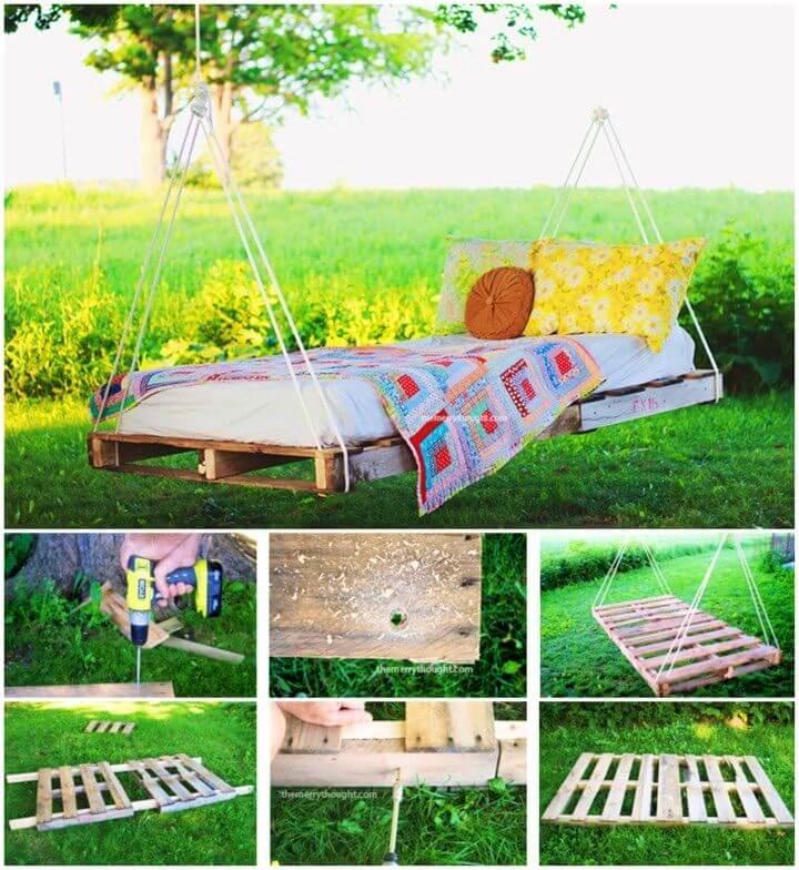 DIY Backyard Pallet Swing Bed