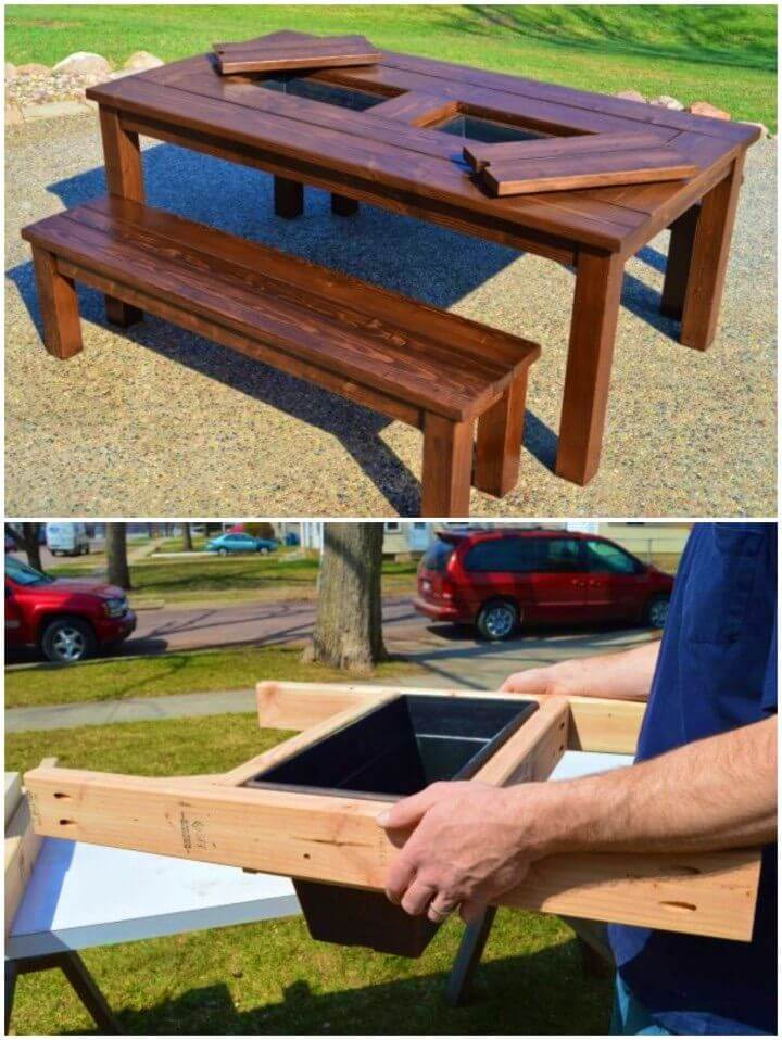 DIY Backyard Table With Built in Ice Boxes