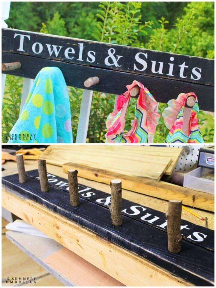 DIY Beach Towel and Bathing Suit Rack Wood Sign