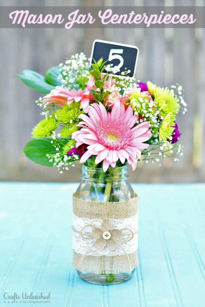 DIY Burlap and Lace Mason Jar Wedding Centerpiece