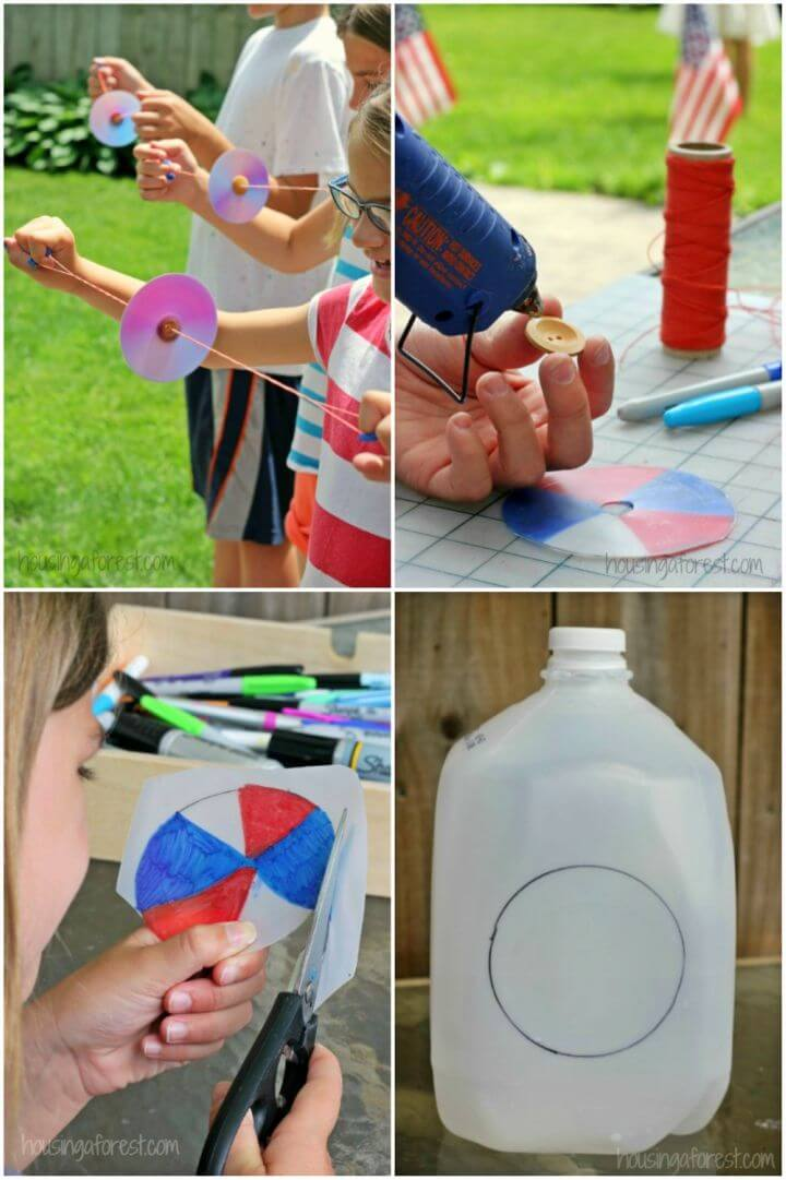 DIY Button Spinner From Recycled Milk Jug