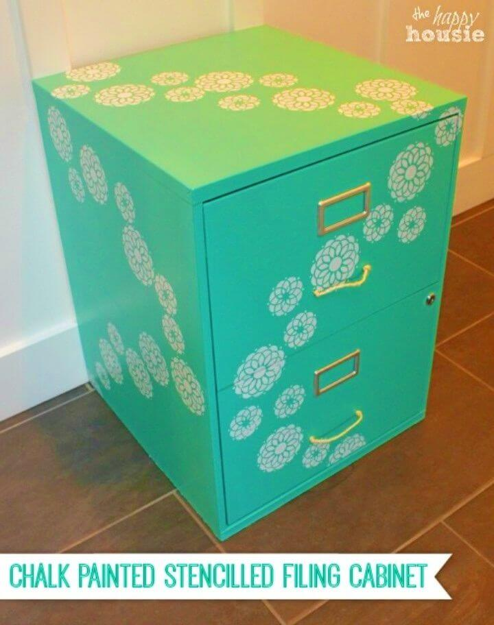 DIY Chalk Painted Stencilled Filing Cabinet