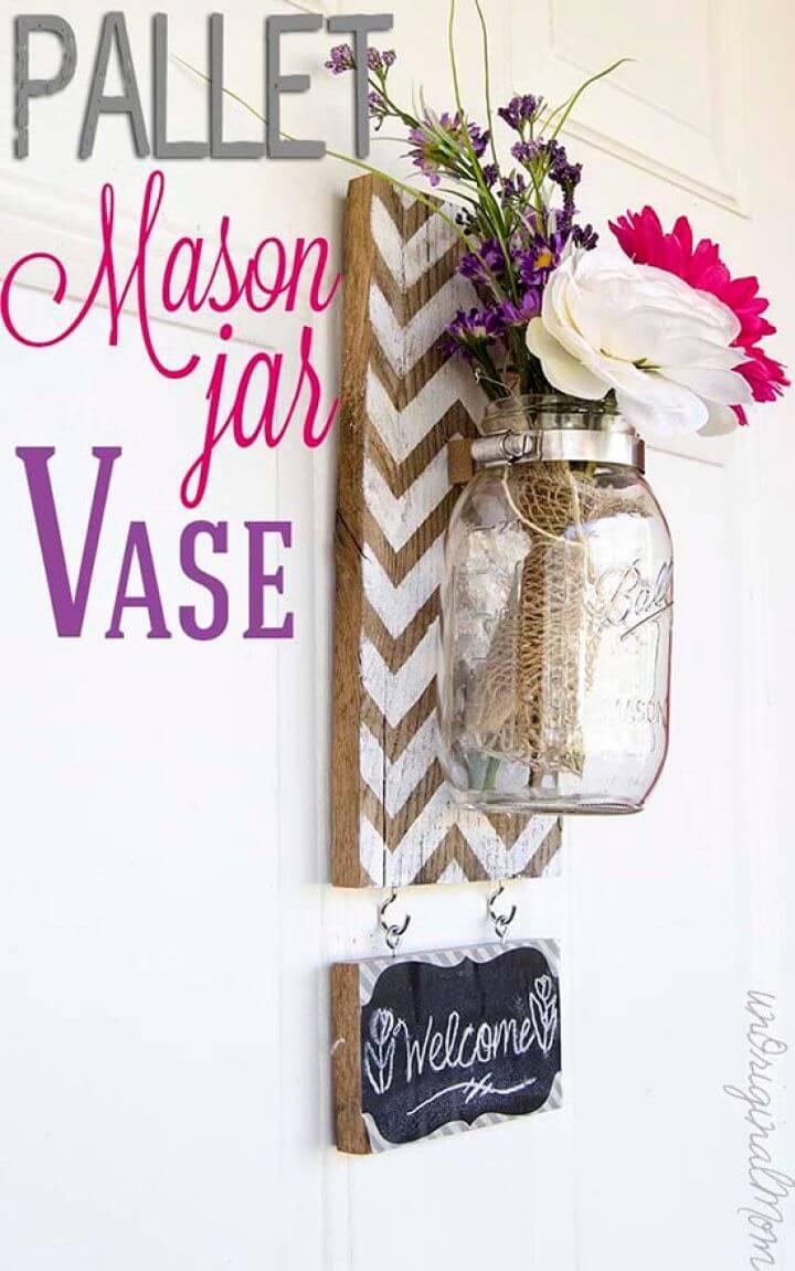 DIY Chevron Pallet Mounted Hanging Mason Jar Vase