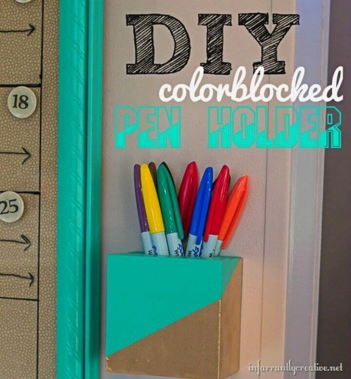 DIY Color Block Pen Holder, DIY, easy DIY, quick DIY, cheap DIY projects, DIY color blocks, color blocks, DIY color block holder, DIY holders, color block technique, DIY home decor, gift ideas, pen holders, DIY pen holders.