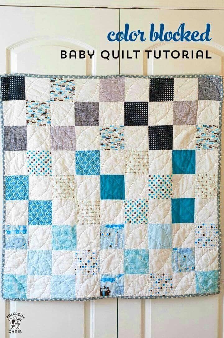 DIY Color Blocked Baby Quilt, DIY, easy DIY, quick DIY, cheap DIY projects, DIY color blocks, color blocks, DIY color block art, color block technique, DIY baby quilt, DIY quilt, blanket, DIY blanket.