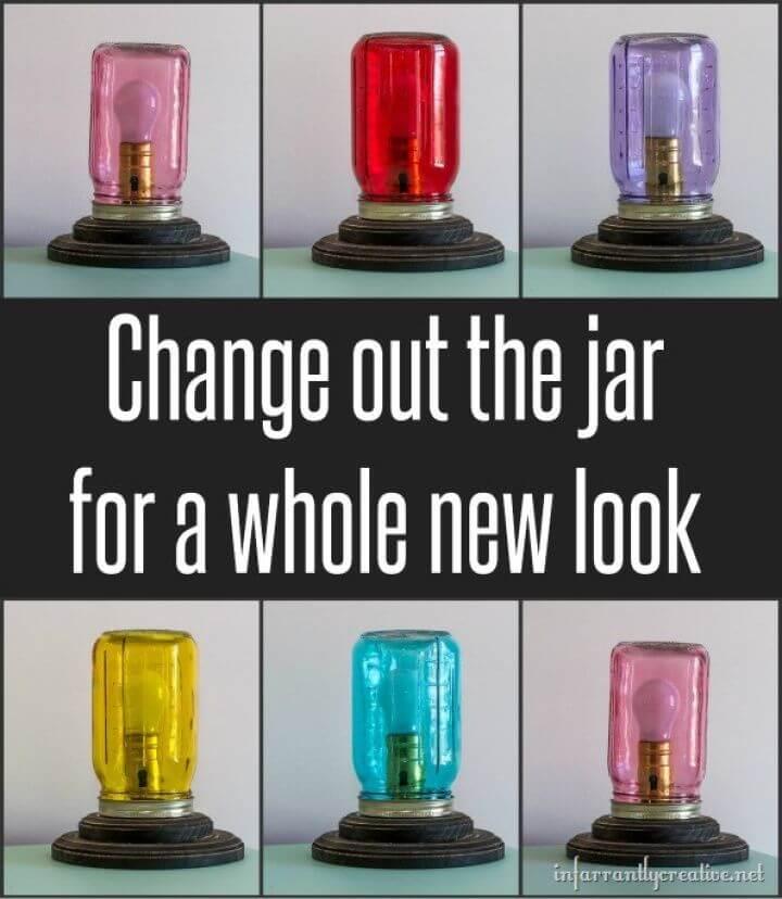 DIY Colorful Mason Jar Table Lamps