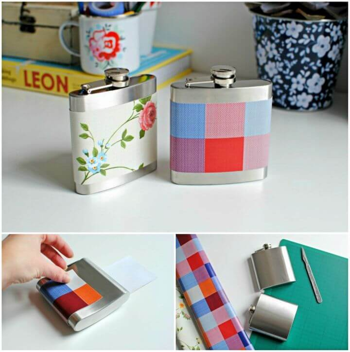 DIY Customised Hip Flask With Fabric