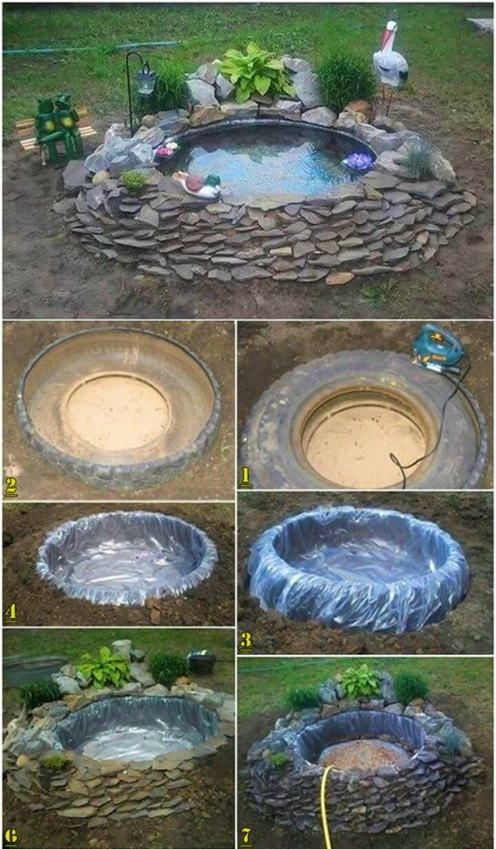 DIY Decorative Pond From Old Tires