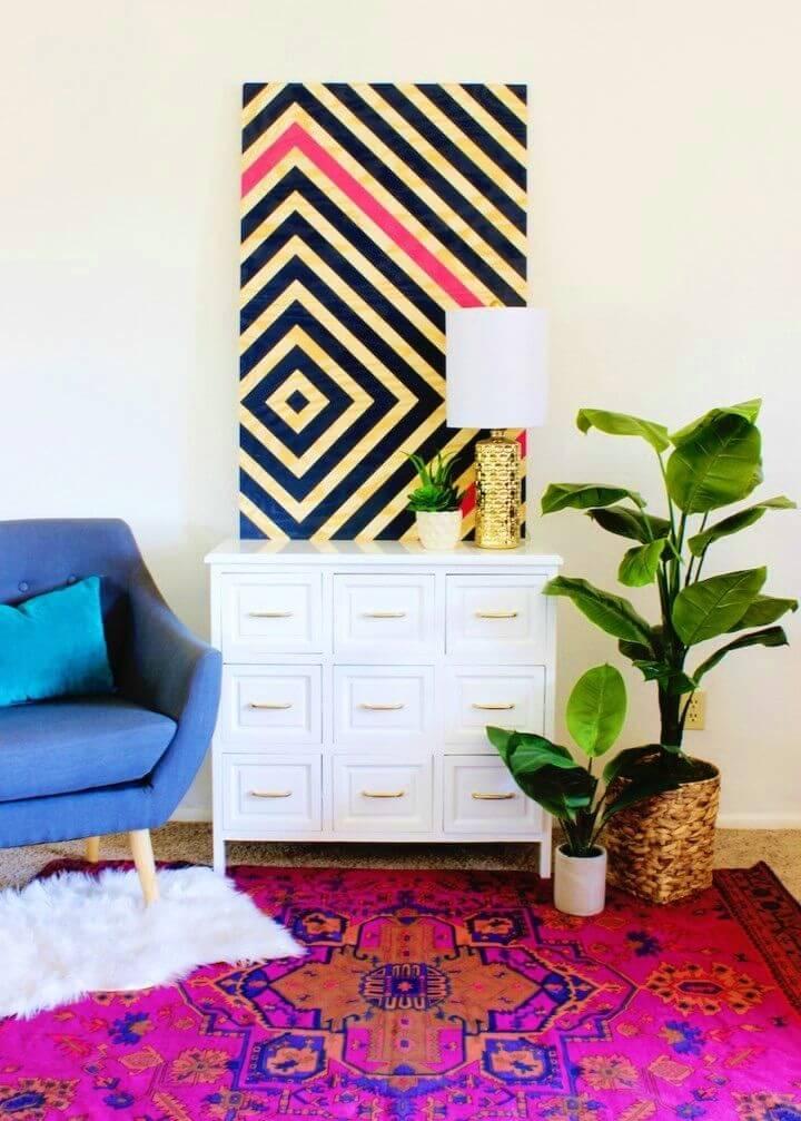 DIY Diamond Ripple Wall Art Home Decor Project