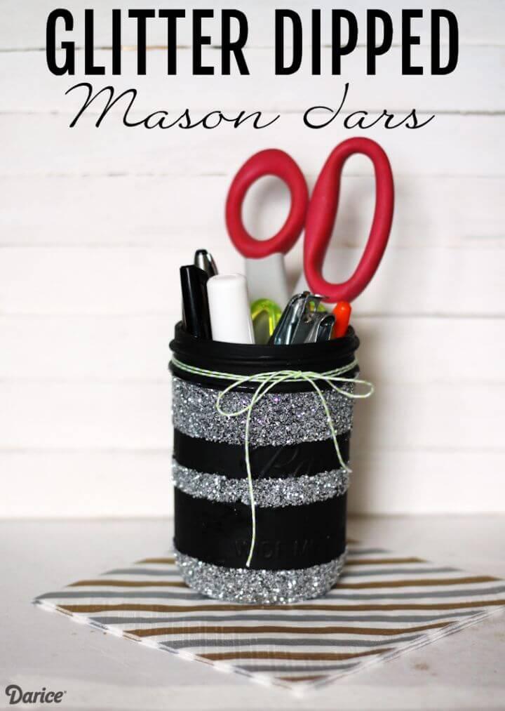 DIY Dipped Glitter Mason Jars Tutorial