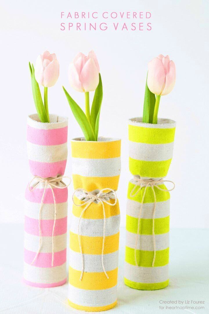 DIY Fabric Covered Spring Vases for Adults