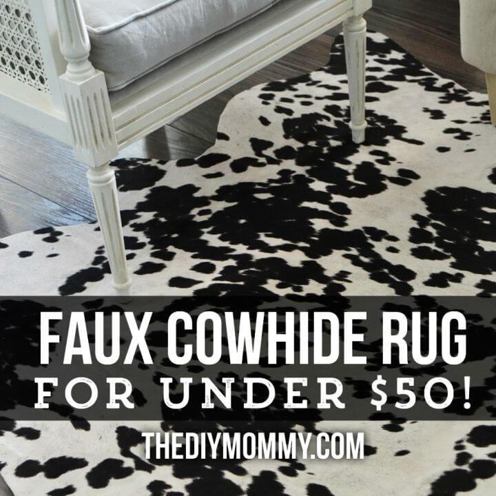 DIY Faux Cowhide Rug for Under