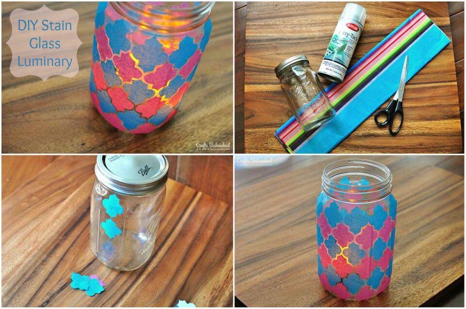 DIY Faux Stain Glass Mason Jar Luminary