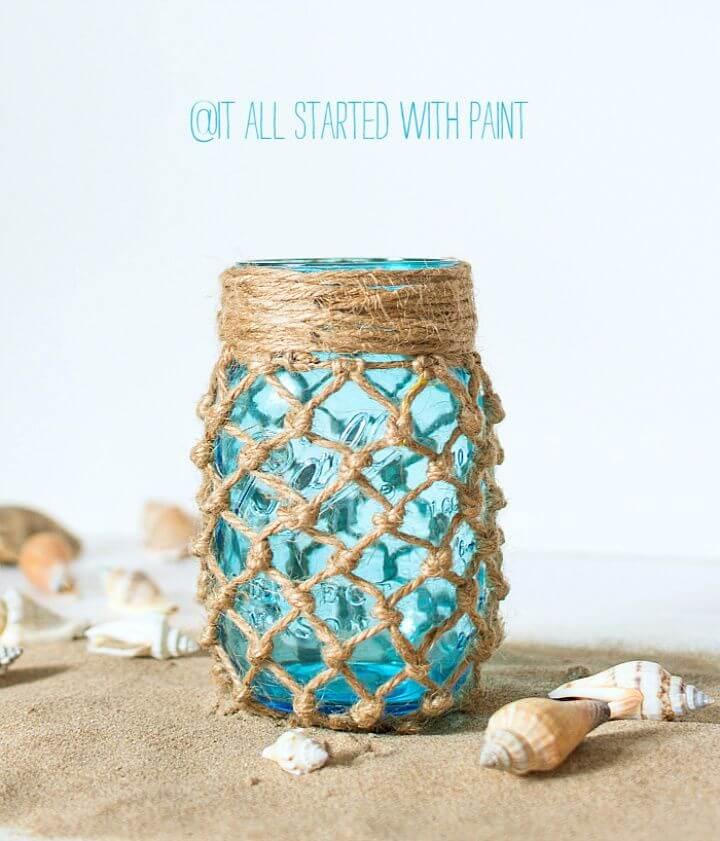 DIY Fishnet Wrapped Mason Jar Craft