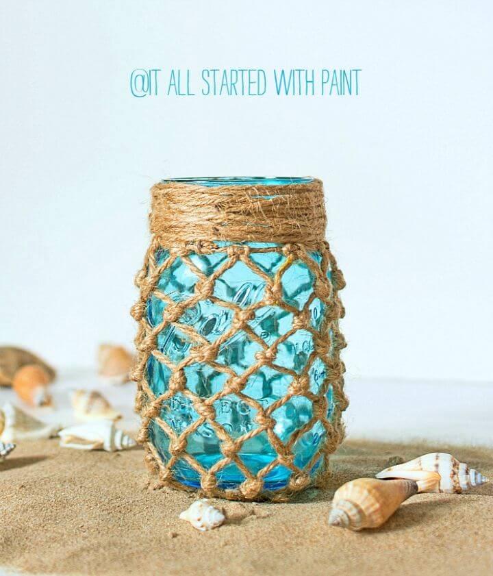DIY Fishnet Wrapped Mason Jar for Gift