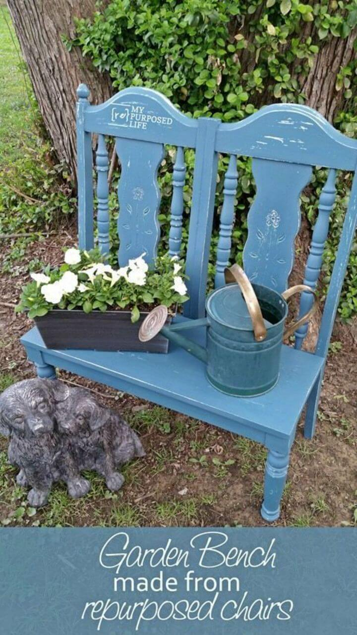 DIY Garden Bench Made From Repurposed Chairs