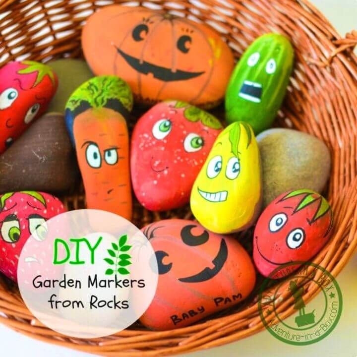 DIY Garden Markers by Painting Stones