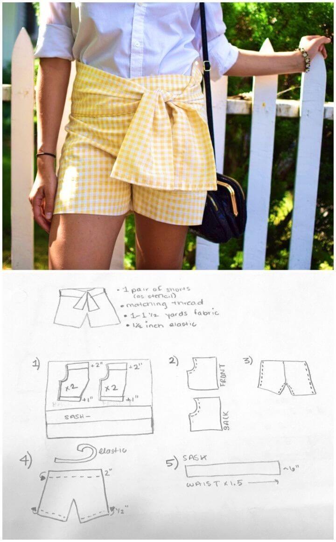 DIY Gingham Sash Shorts